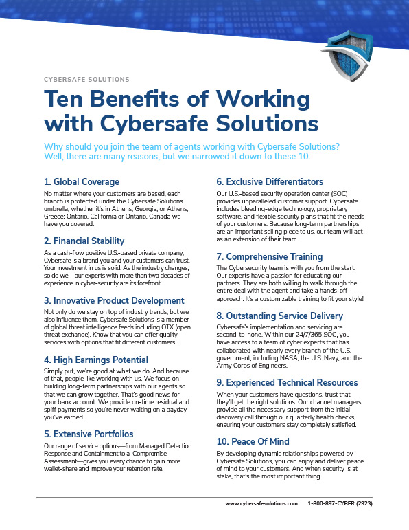 Ten Benefits of Working with Cybersafe Solutions