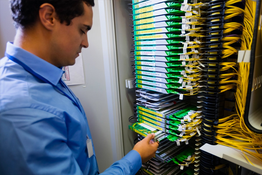 Cybersecurity specialist checking servers