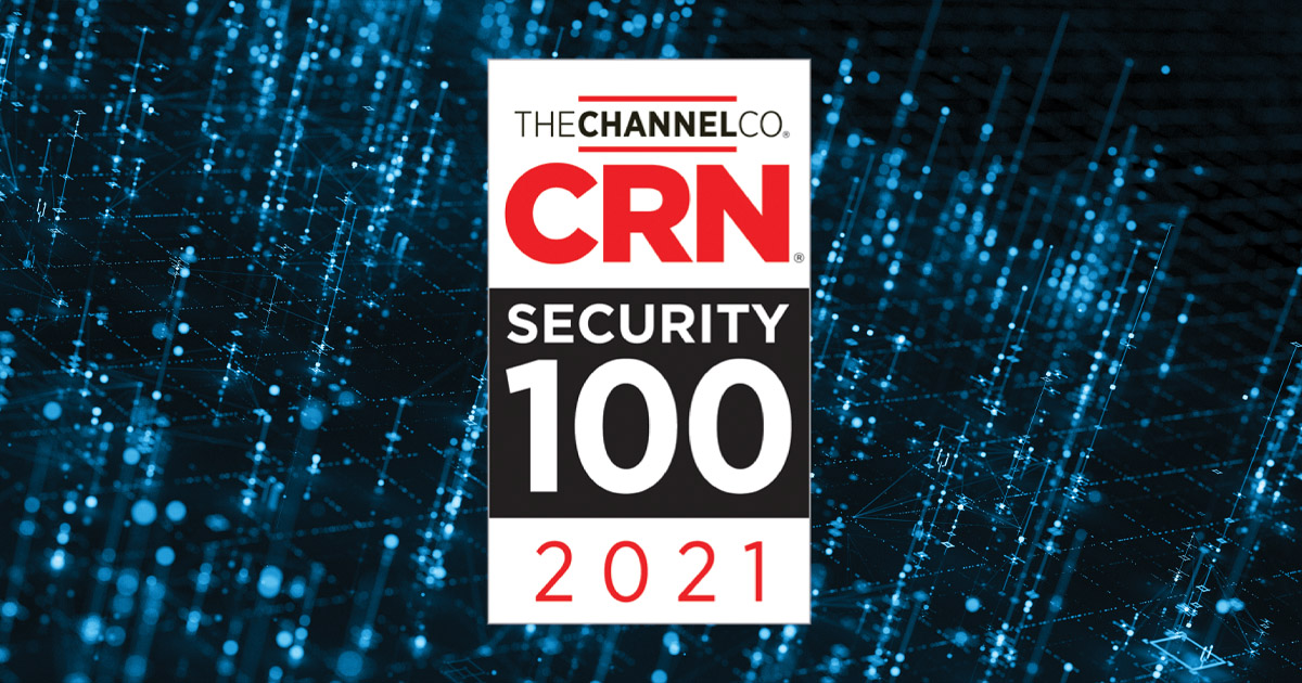 the CRN Security 100 logo on a techy grid background