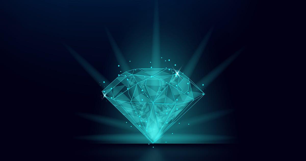digital techy rendering of a shiny diamond
