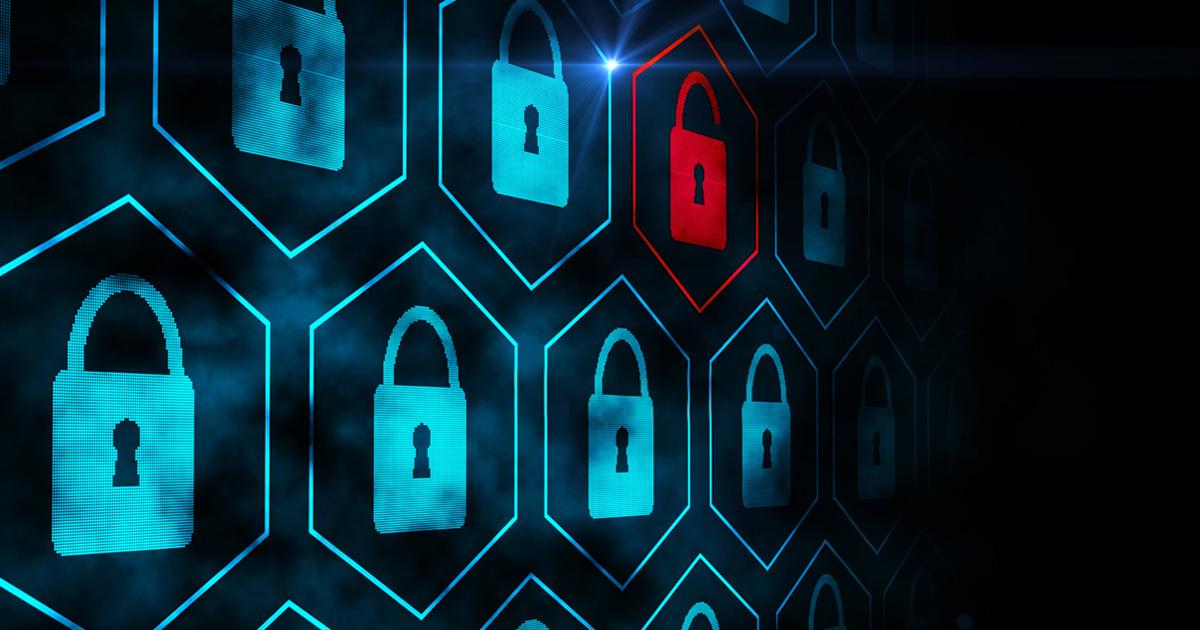 digital rendering of blue locked locks with one unlocked red lock in their midst