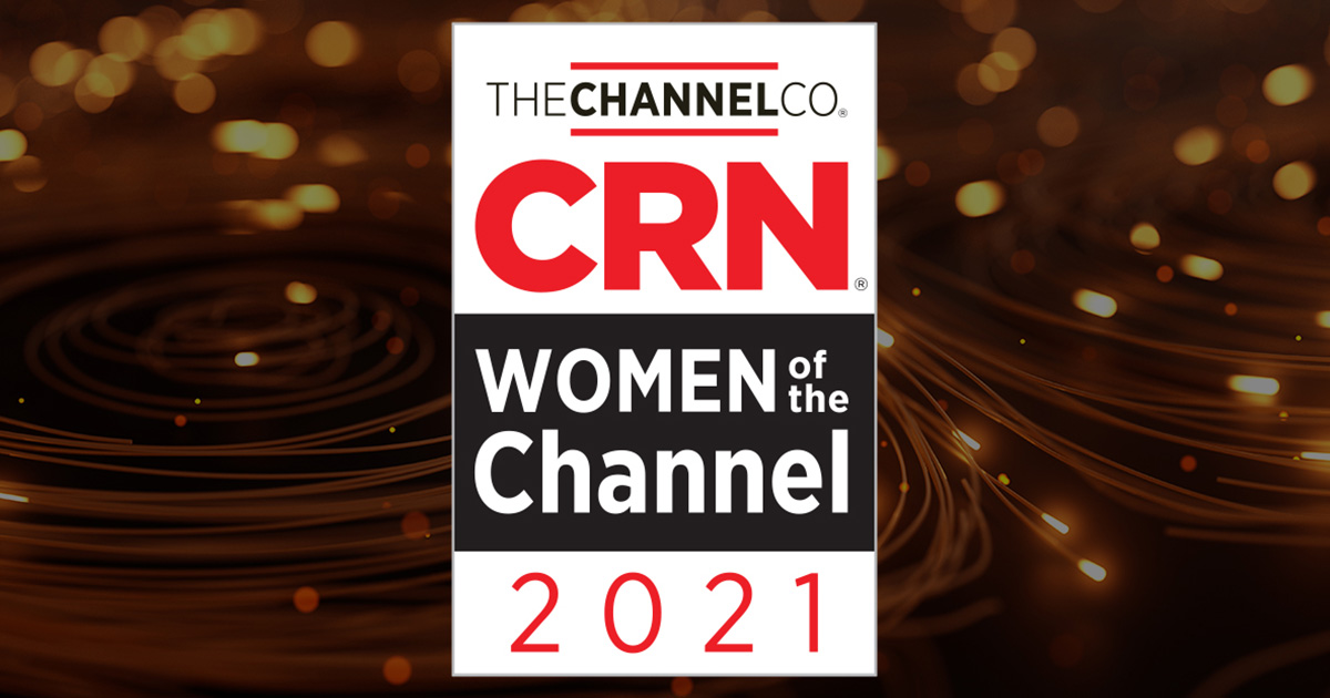 CRN women of the Channel 2021 Award logo with orange background of glowing orbs and lines